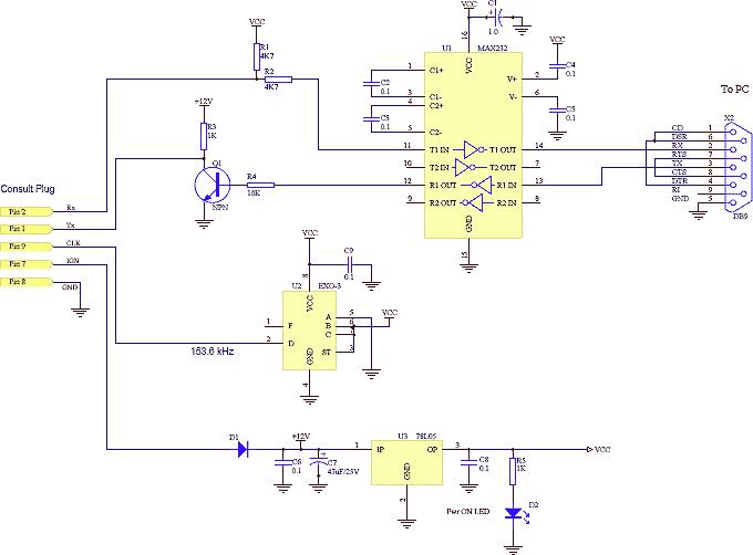 Nissan consult ECU PC cable scheme wiring