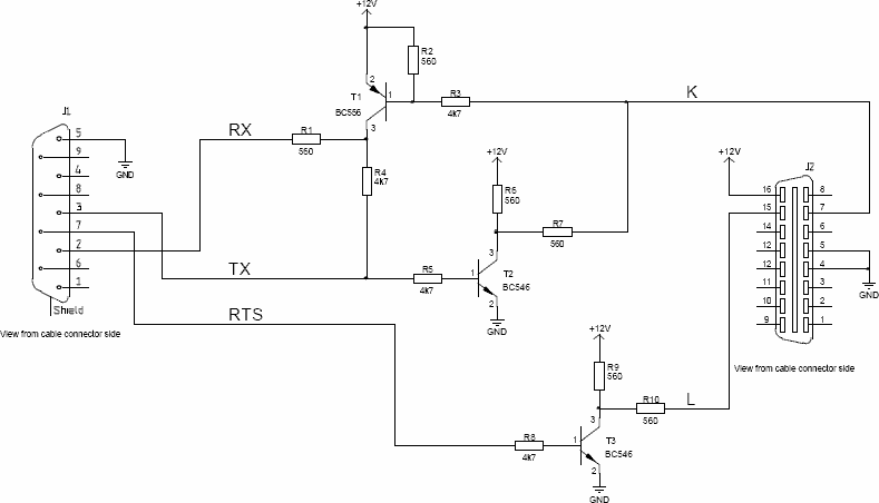 Simple OBD-2 iso9141-2 RS-232 cable schema