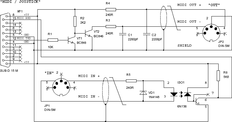 MIDI Cable Optoinsulated Schematic 2