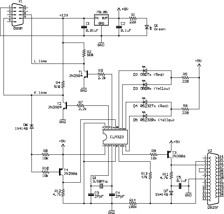 OBD II ISO 14230-4 (ISO-9141-2, KWP2000) to RS-232 interface cable schematic