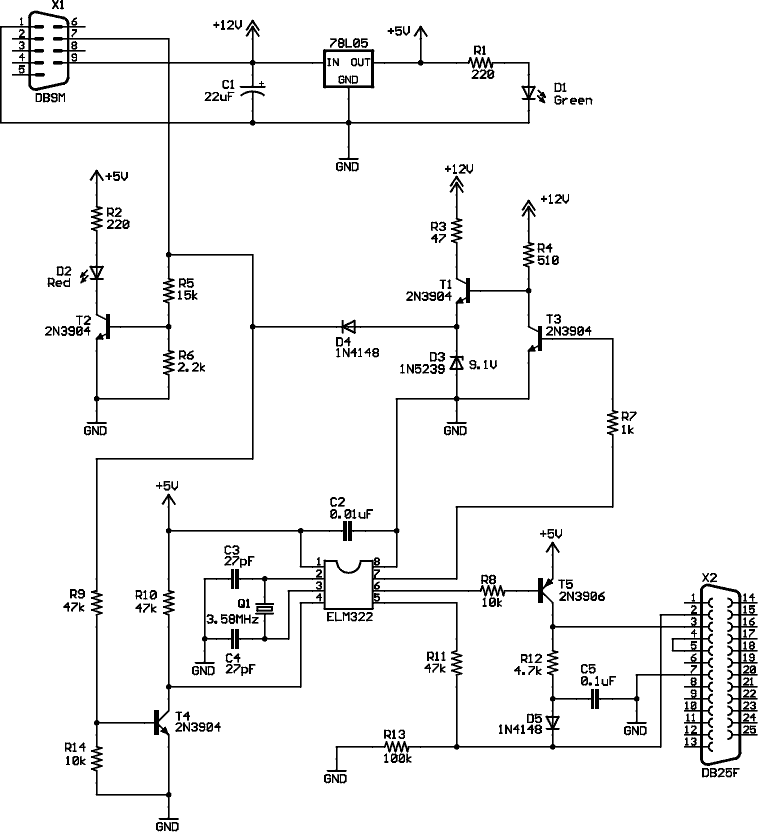OBD II J1850 VPW to RS-232 interface cable schematic