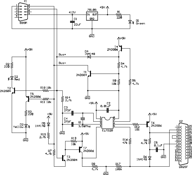 OBD II J1850 PWM to RS-232 interface cable schematic
