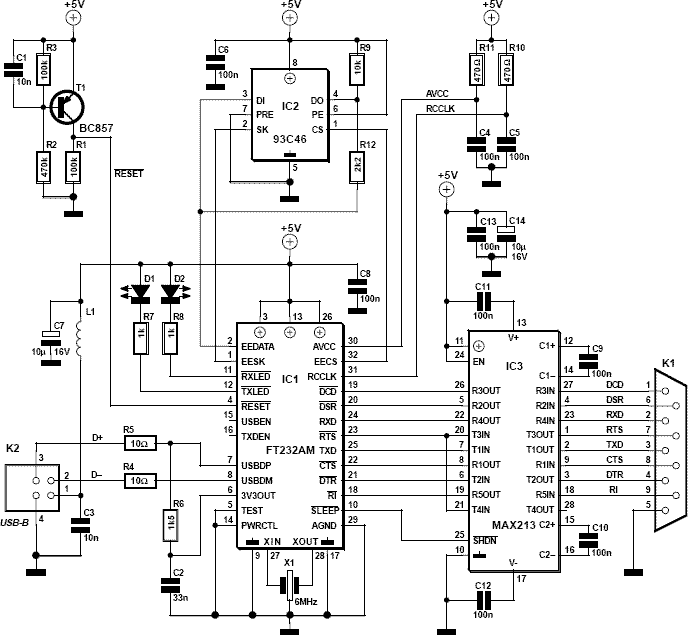 Usb To Rs232 Converter Schematic: RS232 serial to USB converter cable schematic · AllPinoutsrh:allpinouts.org,Design